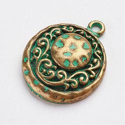Pendentifs en alliage de style tibétain, demi-rond, bronze antique et patine verte, 24x19x5mm, Trou: 2mm(PALLOY-F187-17ABG)
