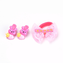 Kits d'accessoires de cheveux pour beaux enfants, pinces à cheveux en alligator en plastique et élastiques à cheveux en lapin, avec résine de lapin et nœud papillon en dentelle, couleur mixte, 31.5mm; attaches de cheveux: 1pc, clip: 2 pcs / sac; 10 sacs / groupe(OHAR-S193-05)