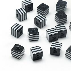 Непрозрачные полоски из смолы, кубические, чёрные, 10x10x10 мм, отверстие : 4 мм(X-RESI-S342-10x10-01)
