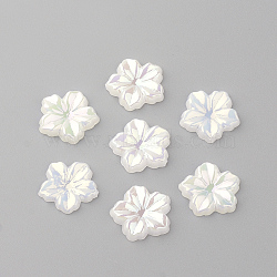 Acrylic Cabochons, AB Color Plated, Flower, White, 12.5x13x2mm(X-MACR-Q183-06)