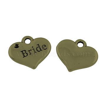 Tibetan Alloy Heart Carved Word Bride Wedding Family Charms Rhinestone Settings, Lead Free & Cadmium Free & Nickel Free, Antique Bronze, 14x16x2.5mm, Hole: 2mm; Fit for 1.5mm Rhinestone(X-TIBEP-GC221-AB-NR)