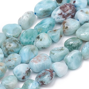 Natural Larimar Beads Strands, Nuggets, Tumbled Stone, 8~10x8~9x5.5~6mm, Hole: 0.5mm; about 43pcs/strand, 15.55 inches(39.5cm)(G-L493-37)