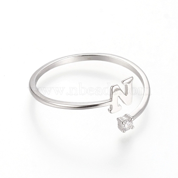 925 Sterling Silver Cuff Rings, Open Rings, with Cubic Zirconia, Platinum, Clear, Letter.N, Size 7, 17mm; letter N: about 4.5x4x0.8mm.(STER-D033-01N-P)