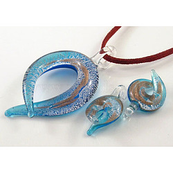 Silver/Gold Sand Foil Glass Pendants set, pendant:36~38mm wide, 60~66mm longmm, hole: about 2mm(X-SLSP122Y-3)