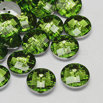 Taiwan Acrylic Rhinestone Buttons, Faceted, 2-Hole, Disc, Spring Green, 10x4mm, Hole: 1mm(BUTT-F022-10mm-38)