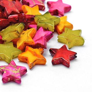 Drawbench Acrylic Beads, Spray Painted, Star, Mixed Color, 13.5x14.5x4mm, Hole: 1mm, about 1200pcs/500g(MACR-K331-31)