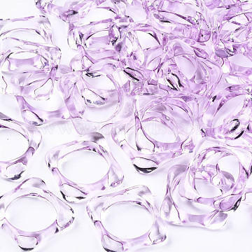 Transparent Acrylic Finger Rings, Square, Orchid, US Size 7 1/2(17.7mm)(RJEW-T010-03E)