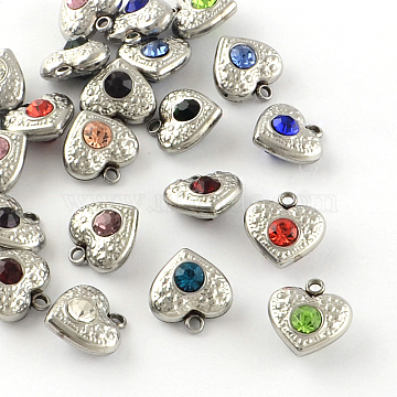 Stainless Steel Color Heart Stainless Steel+Rhinestone Charms