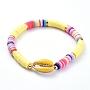 Gold Polymer Clay Bracelets(BJEW-JB05076-03)