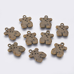 Pendentifs en alliage, sans plomb et sans cadmium et sans nickel, ours, bronze antique, Longueur 22.5mm,  largeur de 16 mm, épaisseur de 1.5mm, Trou: 2mm(EBB047Y-AB)