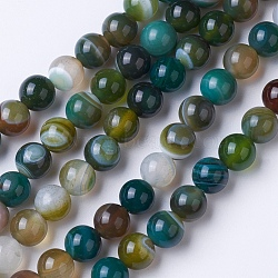 Natural Grade A Striped Agate/Banded Agate Beads Strands, Dyed & Heated, Round, Mixed Color, 12mm, Hole: 1.2mm; about 38pcs/strand, 14.9''(38cm)