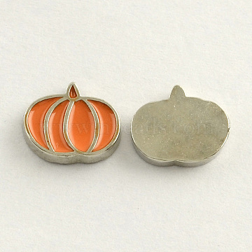 Platinum Plated Alloy Enamel Cabochons, Floating Charms, DIY for Floating Lockets Glass Living Memory Lockets, Pumpkin, Orange, 8x9x1.5mm(X-ENAM-R231-03)