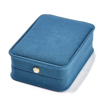 Imitation Leather Pendant Gift Boxes, with Acrylic Pearl, for Wedding, Jewelry Storage Case, Rectangle, Cornflower Blue, 4x3x1-1/2 inch(10x7.6x3.9cm)(LBOX-A002-03A)