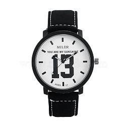 Высокое качество 304 из нержавеющей стали наручные часы кварцевые кожа, чёрные, 245x21 мм; голова часов : 48x49x10 мм; лицо часов : 40 мм(WACH-N052-03B)