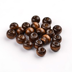 Handmade Natural Wood Beads, Lead Free, Dyed, Round, Coffee, 8mm, hole: about 2mm(X-TB017)
