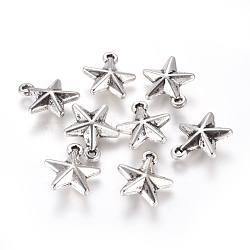 пластиковый кулон ccb, звезда, Старинное серебро, 23x20.5x7 mm, отверстия: 2.5 mm(CCB-K007-048AS)