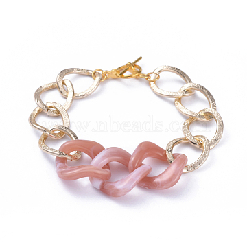 Chain Bracelets, with Aluminum Curb Chains, Acrylic Linking Rings and Alloy Toggle Clasps, Light Gold, Rosy Brown, 7-5/8 inches(19.5cm)(X-BJEW-JB05176-02)