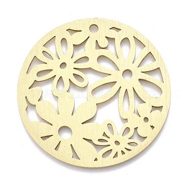 Aluminium Big Pendants, Laser Cut Big Pendants, Flat Round with Flower, Golden, 50x1mm, Hole: 3mm(ALUM-T001-29G)