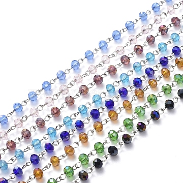 Handmade Electroplate Glass Beaded Chains, with Platinum Plated Iron Eye Pin, Unwelded, Mixed Color, 39.37 inches(100cm); Beads: 6x4.5mm(AJEW-JB00528)