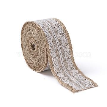 Natural Burlap Ribbon, Hessian Ribbon, Lace Trim Jute Ribbon, for Craft Party Decoration, Tan, 2 inches(50mm)(OCOR-TAC0001-02)