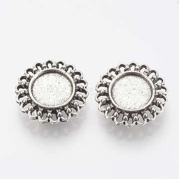 Tibetan Style Alloy Slide Charms Cabochon Settings, Cadmium Free & Lead Free, Flower, Antique Silver, Tray: 12mm; 22x7mm, Hole: 3x10mm; about 240pcs/1000g(TIBE-Q086-063AS-LF)