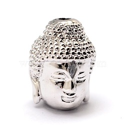 Brass Beads, Micro Pave Grade AAA Cubic Zirconia, Buddha Head, Cadmium Free & Nickel Free & Lead Free, Platinum, 14x10x11mm, Hole: 2mm(KK-E711-015P-NR)