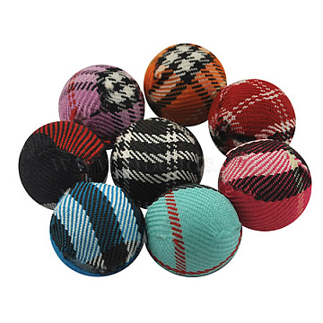 Handmade Woven Cloth Beads, Round, Mixed Color, Size: about 14mm in diameter, hole: 3mm(X-CR196Y)