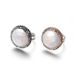 Bagues réglables en strass en pâte polymère, avec les accessoires de perles et en laiton, plat rond, couleur mixte, taille 6, 16.5mm(RJEW-K229-C)