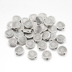 Tibetan Style Alloy Beads for Vintage Jewelry Making Supplies, Flat Round, Lead Free & Nickel Free & Cadmium Free, Antique Silver, about 8.5mm long, 8.5mm wide, 3.5mm thick, hole: 1.5mm