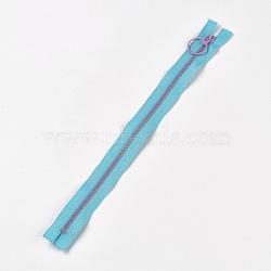 аксессуары для одежды, нейлон и смола закрытой молнией, застежка-молния, DeepSkyBlue, 33.3~33.5x2.8x0.2 cm(FIND-WH0028-04-A09)