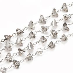 faits à la main des chaînes de perles de verre, soudé, avec bobine, avec les résultats en laiton, facettes, Platine plaqué, lightgrey, 2x4x4 mm; à propos de 25 m / roll(CHC-N015-06B-P)