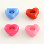 Opaque Acrylic European Beads, Large Hole Heart Beads, Mixed Color, 11.5x12.5x5mm, Hole: 5mm; about 1515pcs/500g