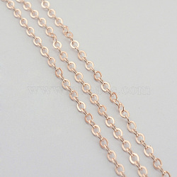 Iron Cable Chains, Unwelded, Flat Oval, Cadmium Free & Lead Free, Rose Gold, 3x2x0.5mm