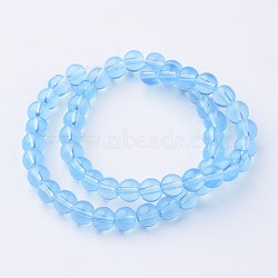 """Chapelets de perles d'opalite, rond, teint, 6mm, trou: 1mm; environ 52 pcs/chapelet, 11.4""""(G-D808-6mm-03)"""