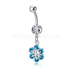 Piercing Jewelry, Brass Cubic Zirconia Navel Ring, Belly Rings, Lead Free & Cadmium Free, Flower, Platinum, Deep Sky Blue, 42x10mm(AJEW-EE0006-18B)