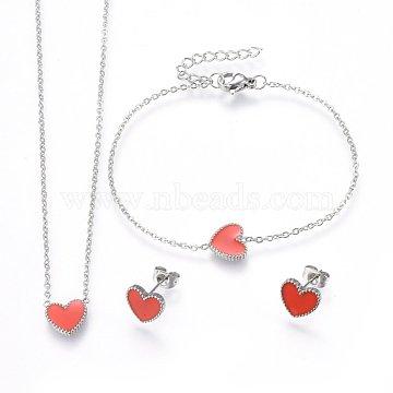 304 Stainless Steel Jewelry Sets, Pendant Necklaces & Stud Earrings & Bracelets, with Enamel, Heart, Orange Red, Stainless Steel Color, 15.75 inches(40cm); 6-3/4 inches(17cm); 9x10x2mm; Pin: 0.8mm(SJEW-H144-21P)