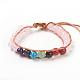 Natural Rose Quartz Cord Beaded Bracelets(BJEW-E351-02D)-1