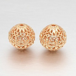 Hollow Round Rack Plating Brass Filigree Beads, Filigree Ball, Light Gold, 14mm, Hole: 2mm(X-KK-L147-181)