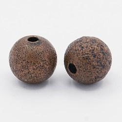 Perles en laiton texturées, sans nickel, rond, cuivre rouge, taille: environ 10mm de diamètre, Trou: 1.8mm(X-EC226-NFR)