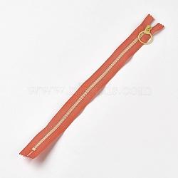аксессуары для одежды, нейлон и смола закрытой молнией, застежка-молния, оранжевый, 33.3~33.5x2.8x0.2 cm(FIND-WH0028-04-A04)