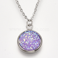 201 Stainless Steel Pendant Necklaces, with Druzy Resin, Cable Chains and Lobster Claw Clasps, Flat Round, MediumPurple, 15.7