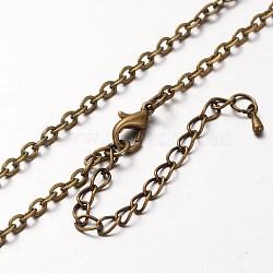 fer chaîne du câble étoffe collier, avec des agrafes en alliage pince de homard et chaînes terminales de fer, bronze antique, 30.3(MAK-J004-28AB)