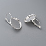 304 Stainless Steel Leverback Earring Settings, Flat Round, Silver, Tray: 16mm; 27x18x16mm; Pin: 0.7mm