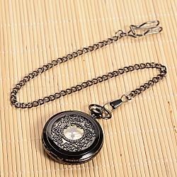 Openable Flat Round Alloy Pendant Pocket Watch, Quartz Watches, with Iron Chain, Gunmetal, 355mm; Watch Head: 59x47x14mm(X-WACH-L024-27)