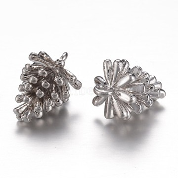 Long-Lasting Plated Brass Charms, Pine Cone, Cadmium Free & Nickel Free & Lead Free, Real Platinum Plated, 13.5x10mm, Hole: 1.5mm(X-KK-P060-01P-NR)