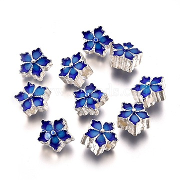 Alloy Enamel Beads, Flower, Blue, Silver Color Plated, 9.5x9.5x7mm, Hole: 2mm(PALLOY-P131-05S-AAA)