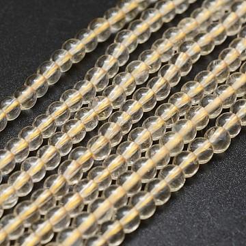 4mm Round Citrine Beads