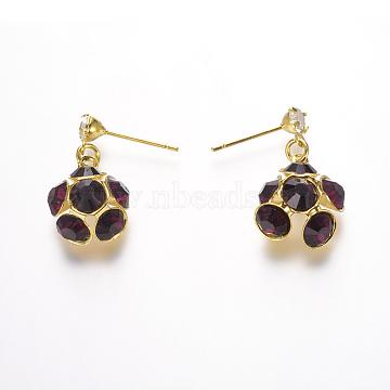 Brass Cubic Zirconia Stud Earrings, Golden, Purple, 15x12x7mm; Pin: 0.5mm(EJEW-P106-07)