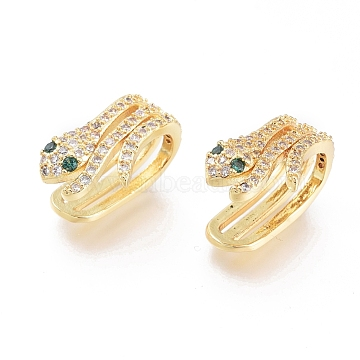 Brass Micro Pave Cubic Zirconia Cuff Earrings, Long-Lasting Plated, Snake, Golden, 15x10x6mm(EJEW-G279-08G)