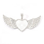 Alloy Pendant Cabochon Settings, with Rhinestone, Lead Free & Nickel Free, Heart with Wing, Silver, Tray: 26.5x32.5mm, 47.5x117.5x6mm, Hole: 15x7mm